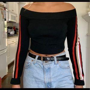 LF cropped black sweater